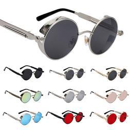 Gothic Metal Steampunk Sunglasses Men Women Fashion Round Gl