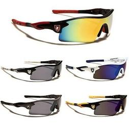 Khan Half Frame Mens Mirrored Lens Wrap Around Sport Cycling