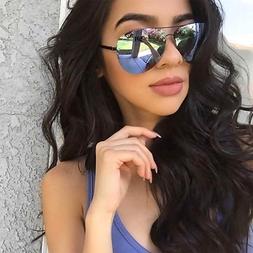 Half Frame Oversized Men Women Aviator Sunglasses Gold and S