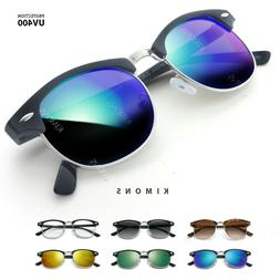Half Frame Semi-Rimless Sunglasses Retro Vintage Mirrored co