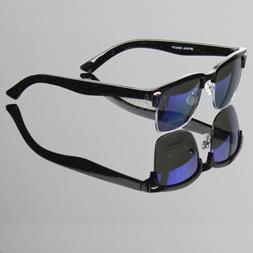 Half Frame Square Horn Retro Clubmaster Sunglasses Mirrored