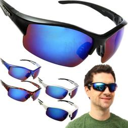 Arctic Blue Half Rim Sunglasses Mens Sports Biking Glasses w