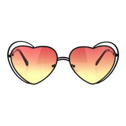Heart Shape Sunglasses Oversized Double Metal Frame Gradient