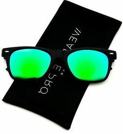 WearMe Pro - Horn Rimmed Matte Frame Sunglasses Revo Mirror