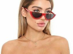 HOT Flat Top Semilunar Semi Rimless Street Snap Sunglasses F