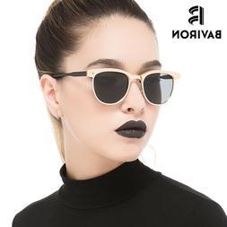 BAVIRON Hot Sale Hipster Women Sunglasses Polarized Semi Rim