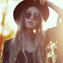 Indie Half Frame Horned Rim Vintage Inspired Sunglasses