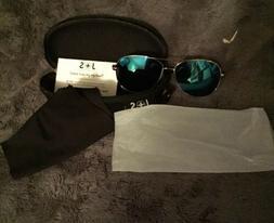J + S J and S Vision Aviator UV400 Polarized Sunglasses & Ca