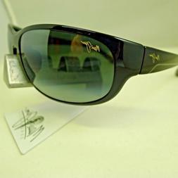 Maui Jim Mens Twin Falls 63 Sunglasses  Black Shiny/Grey Pla