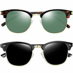 Joopin Semi Rimless Polarized Sunglasses Women Men Retro Bra