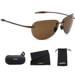 JULI Sports Sunglasses for Men Women Tr90 Rimless Frame for