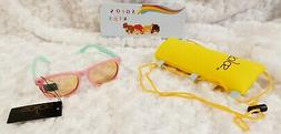 Sojos Kids Pink Green Frame Polarized Sunglasses w/ Case NIB