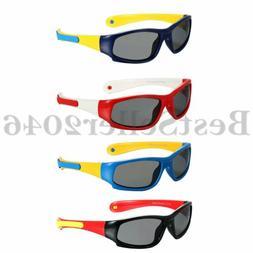 Kids Sports Sunglasses Rubber Flexible Frame Detachable For