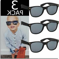 KIDS SUNGLASSES BOYS GIRLS GLASSES 3 PACK CLASSIC LOOK SUNGL