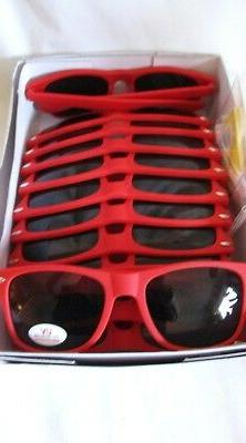 12 Lot NEW Red Rubber Sunglasses Smoked Gray Lenses UV Eye P