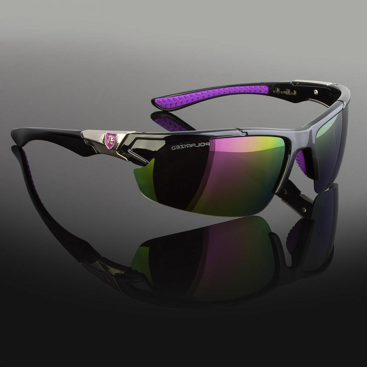 2 Pair Men Polarized Sunglasses Wrap Mirror Driving