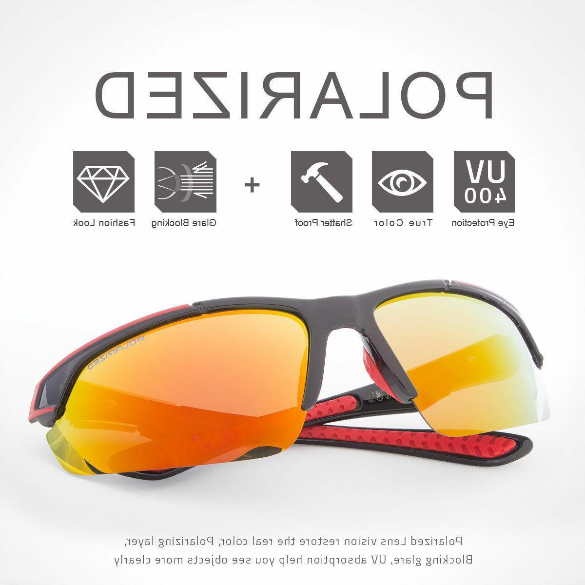 2 Sunglasses Sport Wrap Mirror Eyewear Glasses