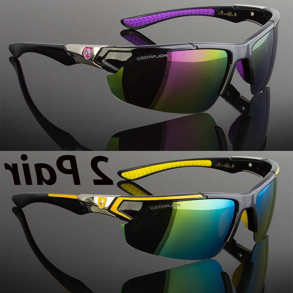 2 pair men polarized sunglasses sport wrap