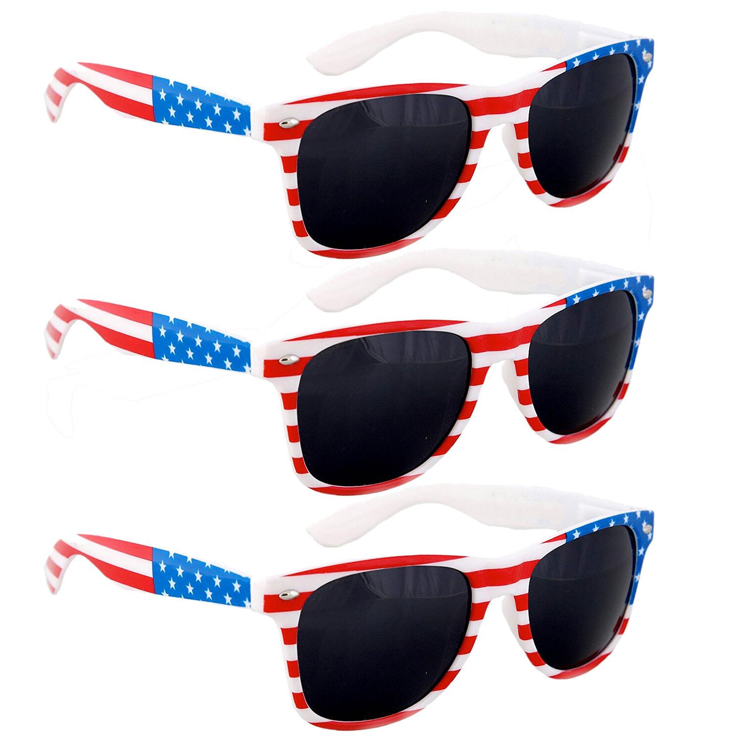 3 Pair USA American Flag Red White Blue Frame Black lens sun