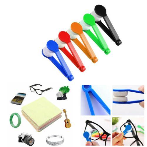 5pcs sunglasses eyeglass brush cleaner microfiber cloth