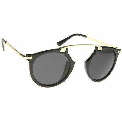 Arched Pattern Mirrored Lens Round Sunglasses