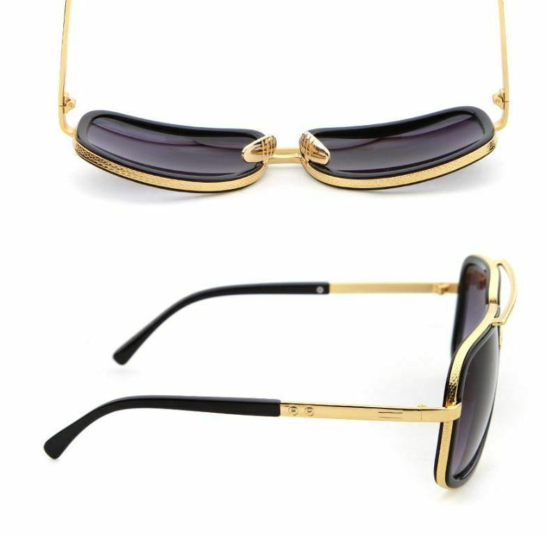 Men Fashion Sunglasses Square Gold