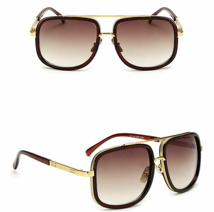 Men Fashion Sunglasses Square Top Gold Fancy