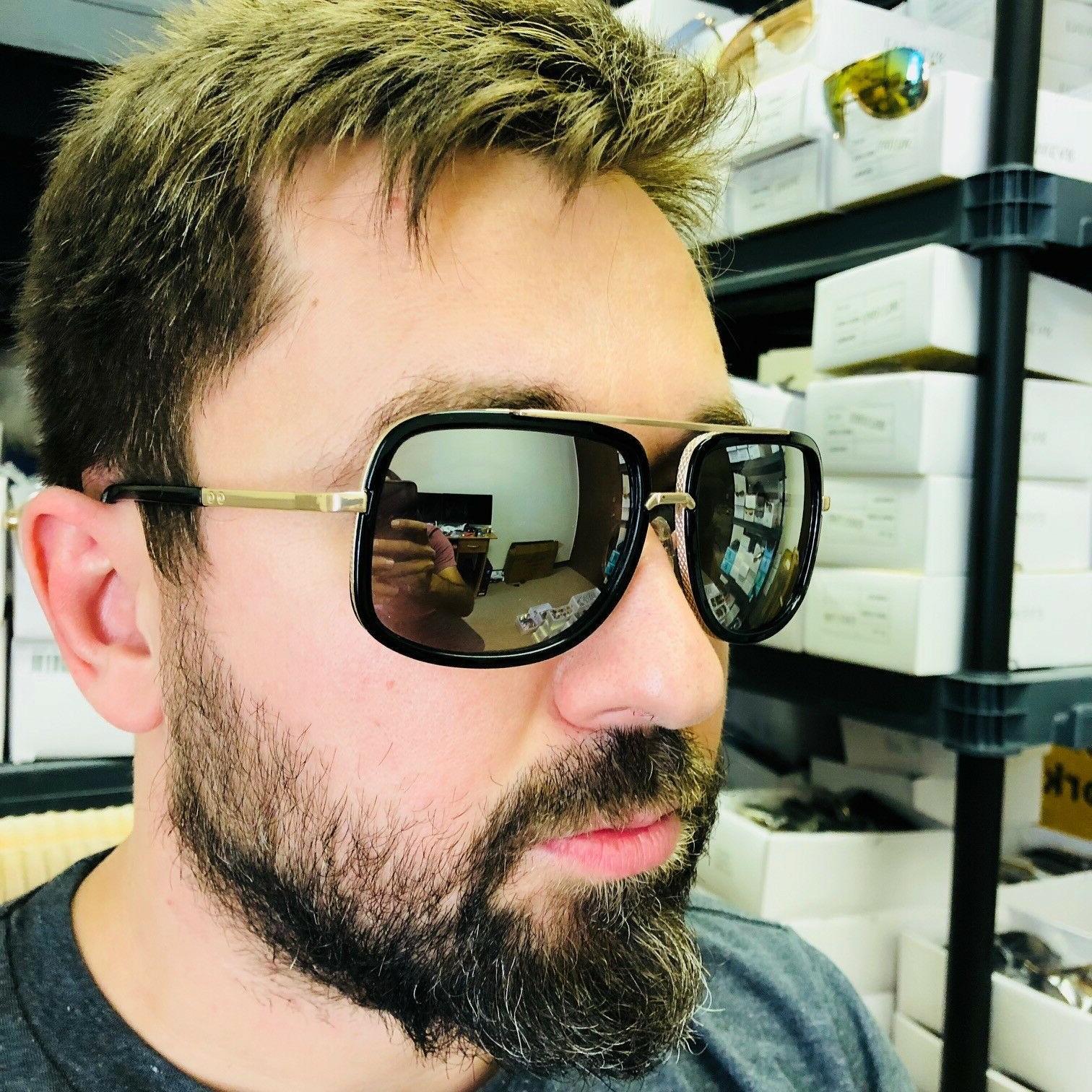 Aviator Square Flat Top Men Sunglasses