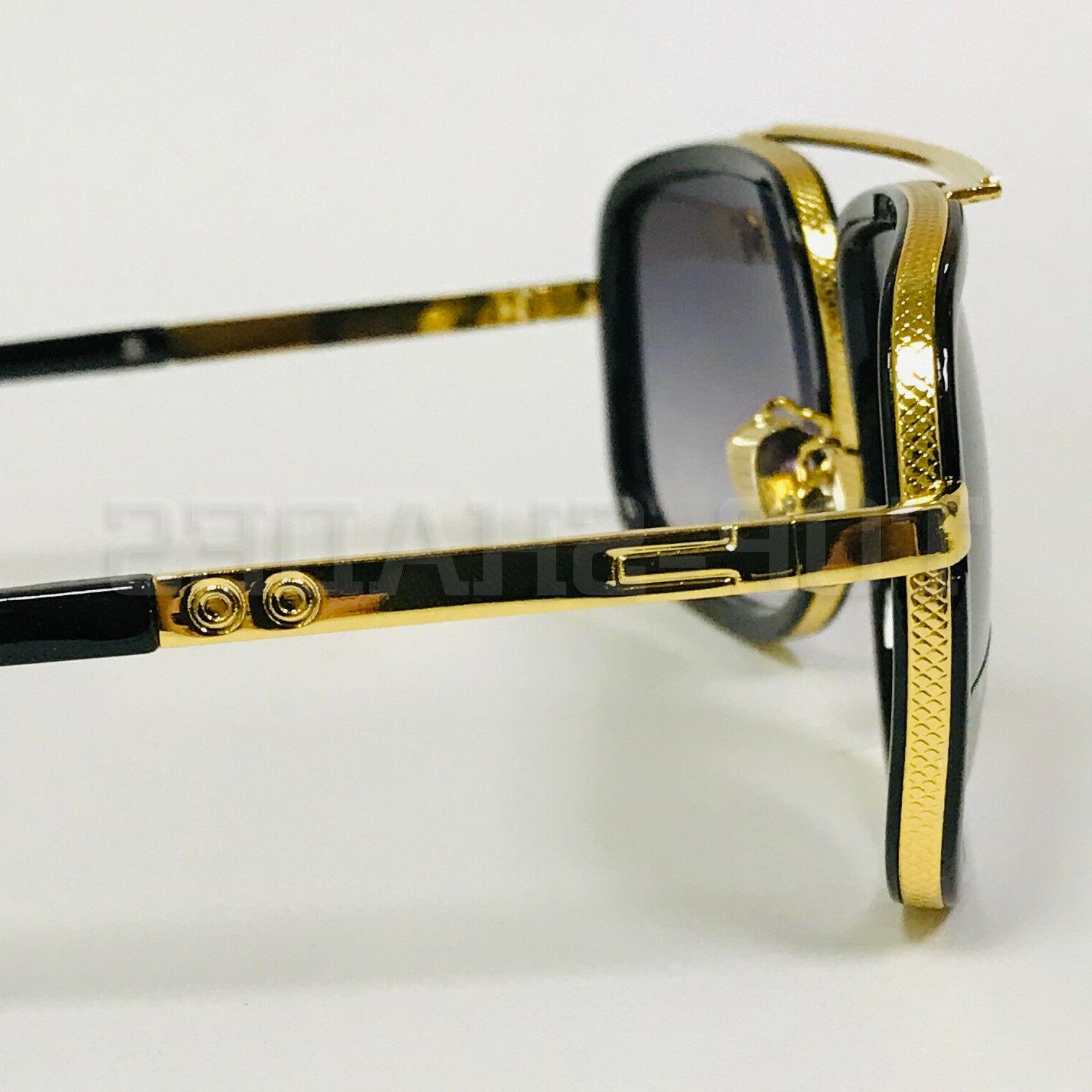 Aviator Oversize Square Flat Top Gold Men Fashion Sunglasses