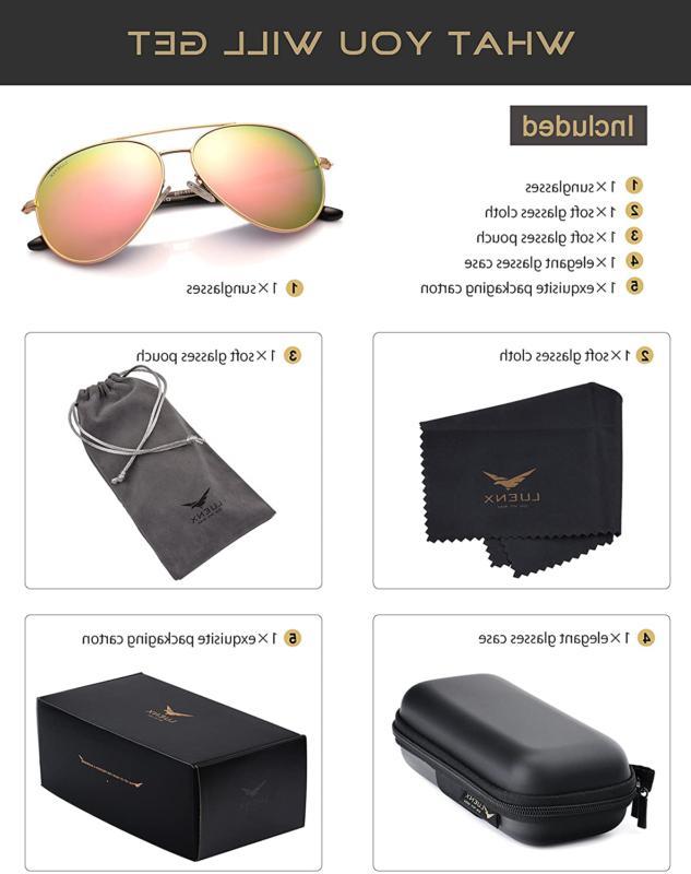 LUENX Aviator Sunglasses Women Case UV Protection