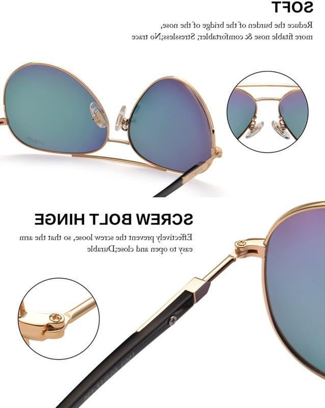 LUENX Aviator Sunglasses Women Case - UV Protection