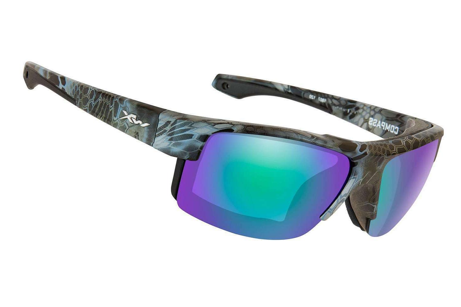 TOREGE POLARIZED SPORTS SUNGLASSES Black tips and Green Lens