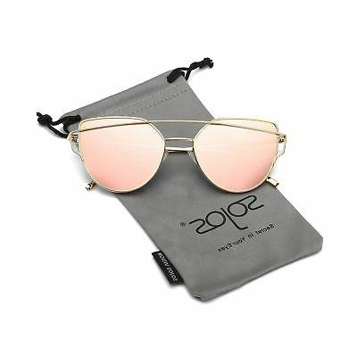 SOJOS Cat Eye Mirrored Flat Lenses Street Fashion Metal Fram