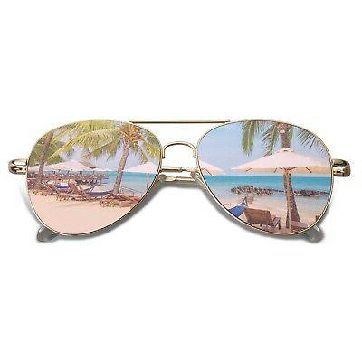classic aviator mirrored flat lens sunglasses metal