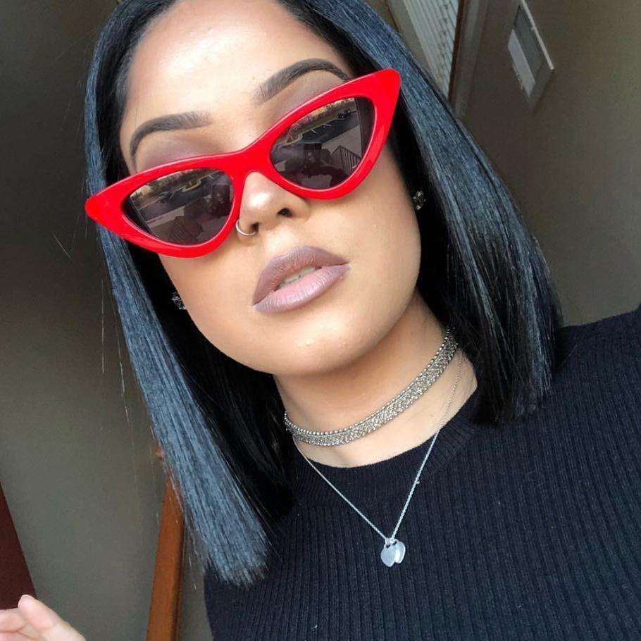 Cat Eye Sunglasses Sexy Women Exaggerated Slim Frame Colorfu