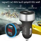 Dual USB Port Car Charger 12-24V Voltage LED Display Cigaret