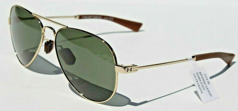 Under Armour Getaway Sunglasses Shiny Gold Frame Green Lens