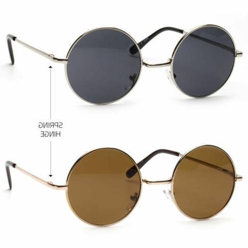 John Lennon Sunglasses Round Shades Gold Frame Black Lenses