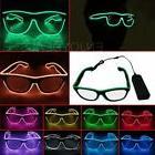 LED EL Wire Glasses Light Up Glow Sunglasses Eyewear Shades