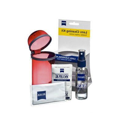 NEW Zeiss Lens Care Kit w/ Reusable Red Case Lens Spray Wipe