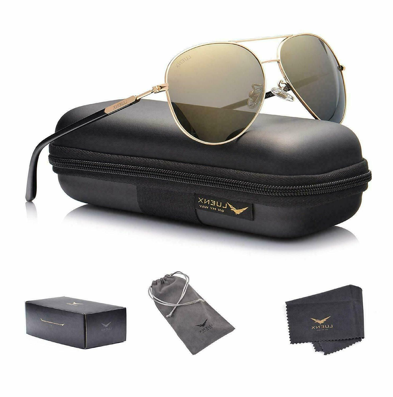 LUENX Aviator Sunglasses Womens Polarized Mirror with Case -