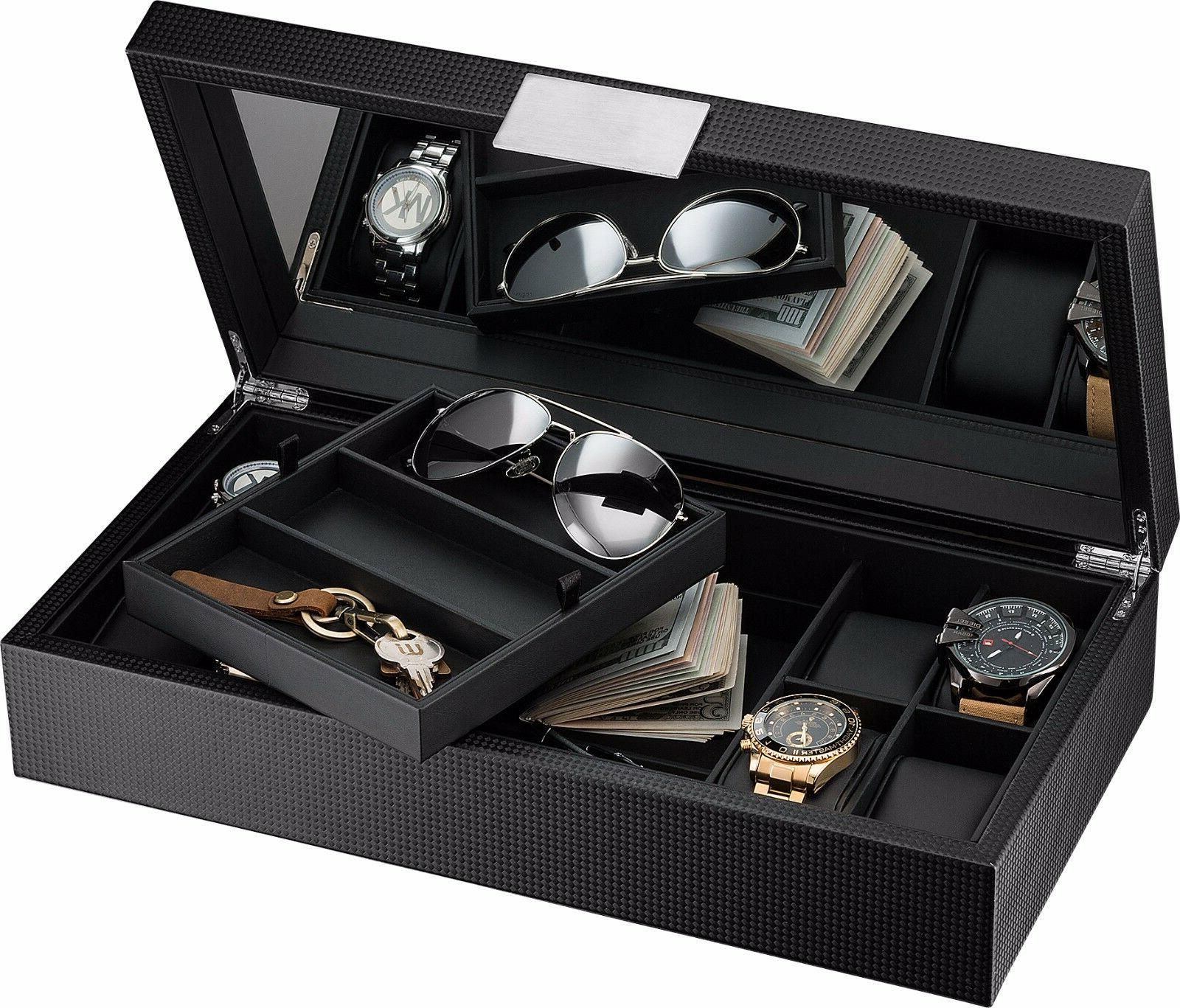 Glenor Co Luxury Watch and Sunglasses Box with Valet Tray fo