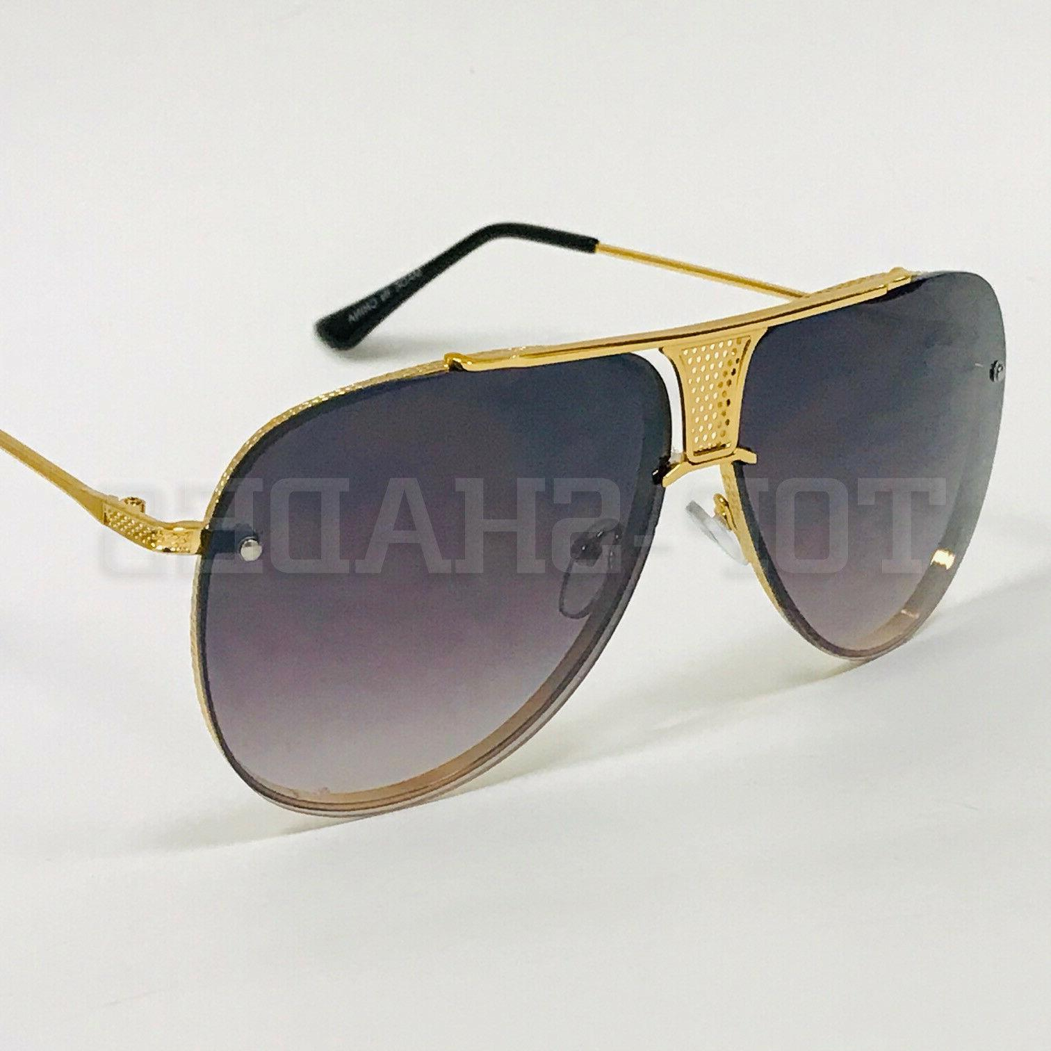 Men Women Sunglasses Retro Vintage Oversized Style Brown