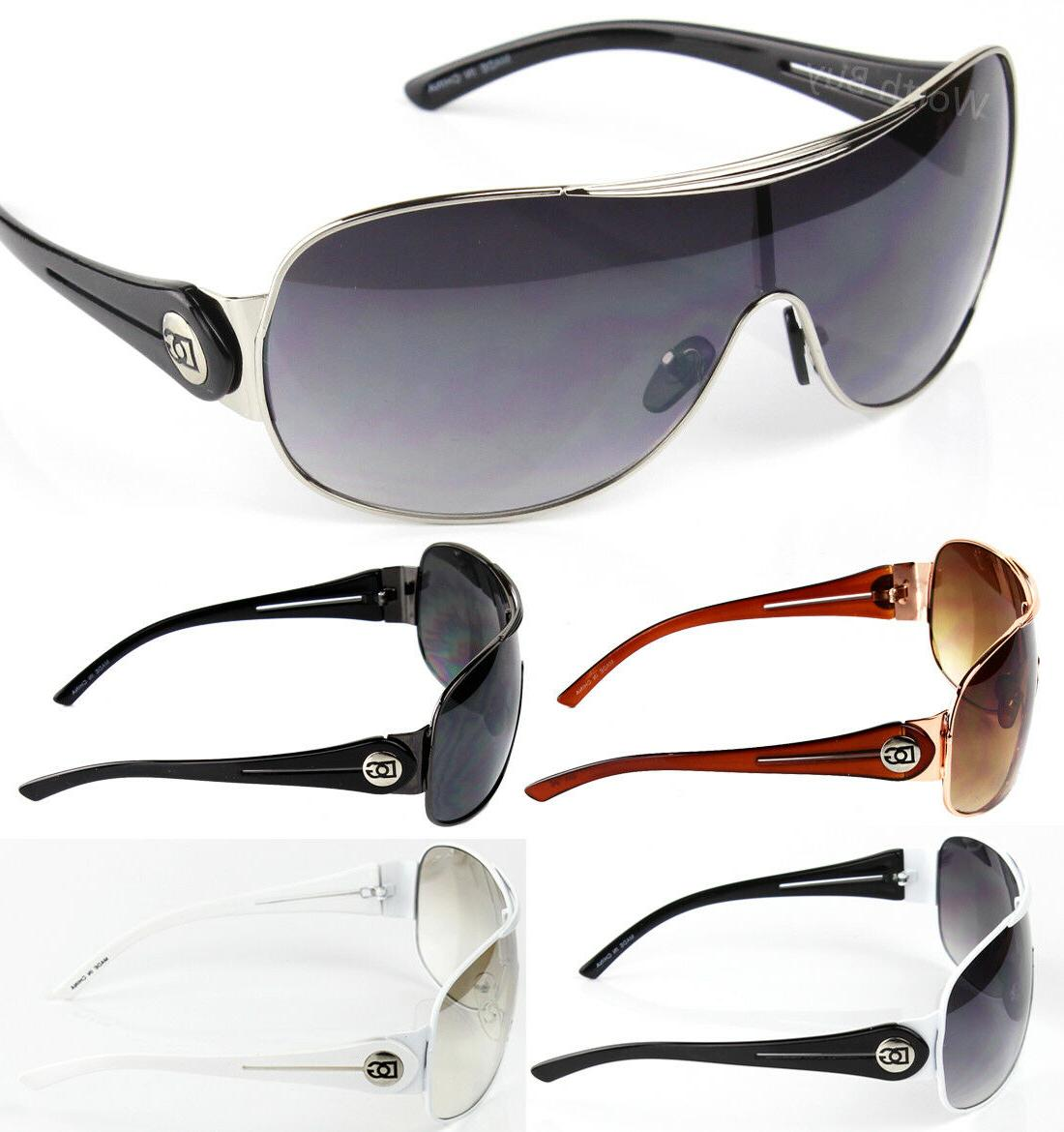 mens designer shield wrap sunglasses fashion shades
