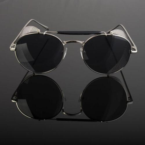 Mens Gold Vintage Steampunk Hipster Round Sunglasses