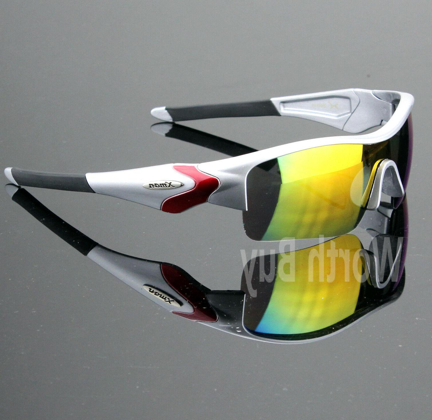Mens Shield Wrap Around Sports Sunglasses Mirrored Cycling D