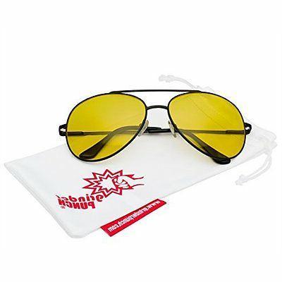 Metal Frame Pilot Sunglasses HD Yellow Lens High Contrast