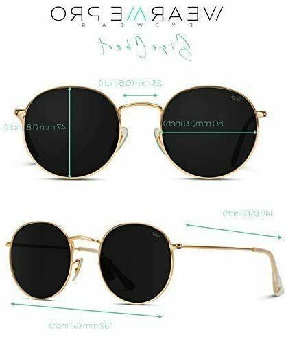 New WEARME PRO GOLD FRAME BLACK LENS Reflective Lens Round Trendy