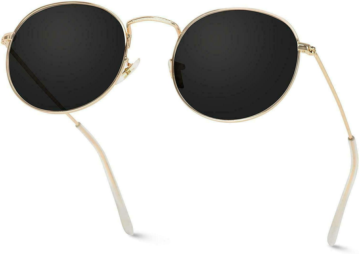 New WEARME GOLD FRAME SUNGLASSES Reflective Lens Round Trendy