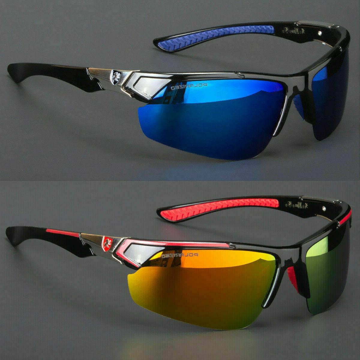 New Men Polarized Sunglasses Sport Wrap Around HD Mirror Dri